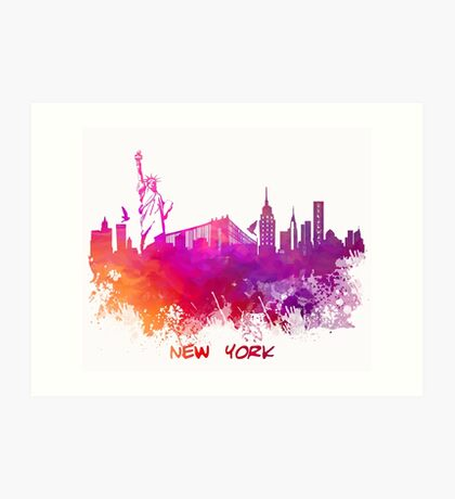 Skyline New York City pink red Art Print