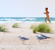 Running on the beach by Craig Sterken