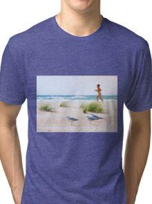Running on the beach Tri-blend T-Shirt