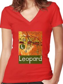 L is for Leopard Women's Fitted V-Neck T-Shirt