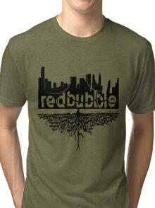 From Skyscrapers to Grassroots : Black Version Tri-blend T-Shirt