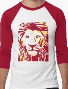 Lovely Lion Stencil (Warm) Men's Baseball ¾ T-Shirt