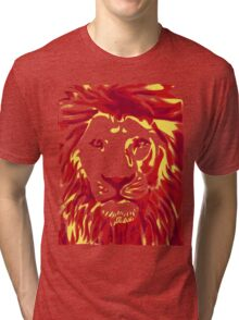 Lovely Lion Stencil (Warm) Tri-blend T-Shirt