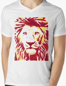 Lovely Lion Stencil (Warm) Mens V-Neck T-Shirt