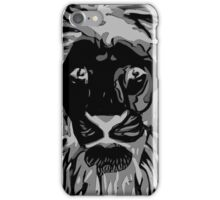 Lovely Lion Stencil (Greyscale Reverse) iPhone Case/Skin