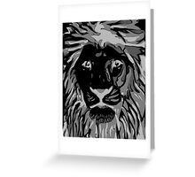 Lovely Lion Stencil (Greyscale Reverse) Greeting Card