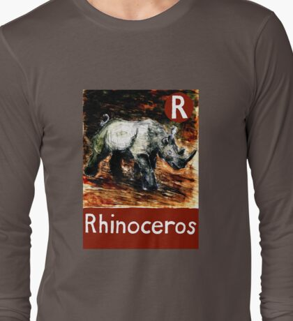R is for Rhinoceros Long Sleeve T-Shirt