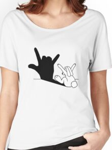 Rabbit Love Hand Shadow Women's Relaxed Fit T-Shirt