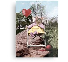Pretty little Kitty with a heart balloon Metal Print
