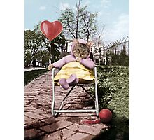 Pretty little Kitty with a heart balloon Photographic Print