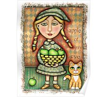 Apple Girl With Tabby Cat Poster
