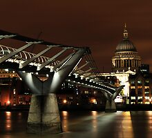 Millennium Bridge at Night by Lea Valley Photographic