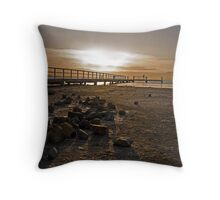 Low Tide Sunset Throw Pillow