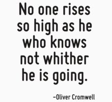 No one rises so high as he who knows not whither he is going. by Quotr