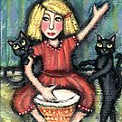 Dancing Cats With Girl On Drum by Jamie Wogan Edwards