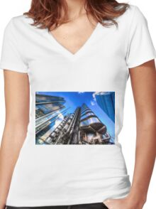The Lloyd's of London Cheesegrater and Willis Group London Women's Fitted V-Neck T-Shirt