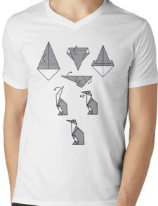 Origami Penguin Mens V-Neck T-Shirt