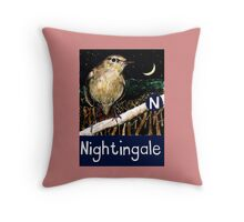 N is for Nightingale Throw Pillow