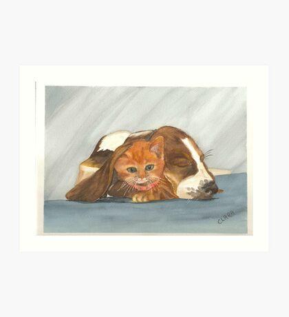 Dog & Kitty Art Print