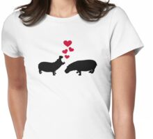 Hippo red hearts love Womens Fitted T-Shirt