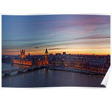 Sunset Over London - A Bird View Poster