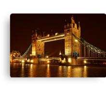 Tower Bridge At Night, London, United Kingdom Canvas Print