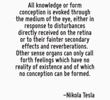 All knowledge or form conception is evoked through the medium of the eye, either in response to disturbances directly received on the retina or to their fainter secondary effects and reverberations.  T-Shirt