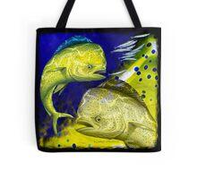 Mahi Mahi on blue & yellow Tote Bag