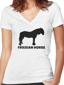 Friesian horse Women's Fitted V-Neck T-Shirt