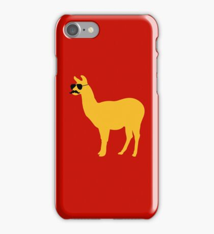 Funny llama with sunglasses and mustache iPhone Case/Skin