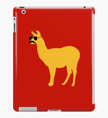 Funny llama with sunglasses and mustache iPad Case/Skin