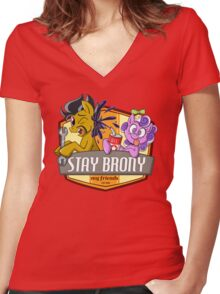 Stay Brony My Friends Garage Women's Fitted V-Neck T-Shirt