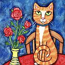 Orange Tabby Cat With Roses by Jamie Wogan Edwards