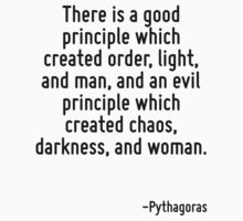 There is a good principle which created order, light, and man, and an evil principle which created chaos, darkness, and woman. by Quotr