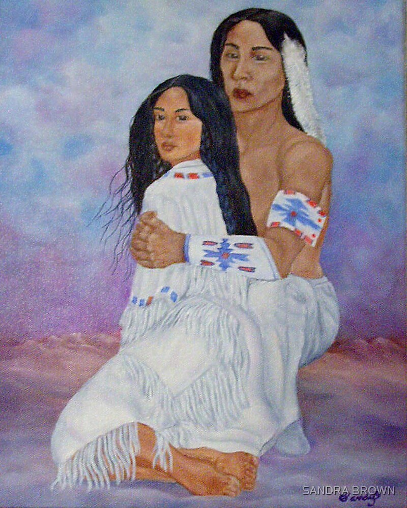 INDIAN BRAVE AND WOMAN OIL PAINTING 8X10 by SANDRA BROWN