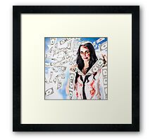 Zombie person with falling 1 dollar US bank notes Framed Print