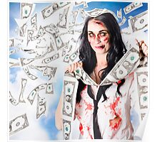 Zombie person with falling 1 dollar US bank notes Poster