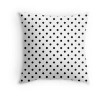 cool, trendy, simple black can white polka dots graphic pattern. Throw Pillow