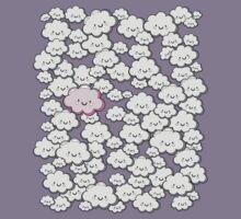 Kawaii Grey Little Clouds Kids Tee