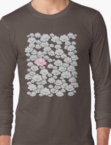 Kawaii Grey Little Clouds Long Sleeve T-Shirt