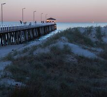 Jetty and dunes at dawn by indiafrank