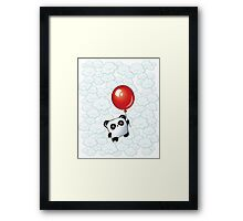 Kawaii Little Panda on the Balloon Framed Print