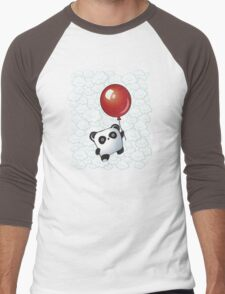 Kawaii Little Panda on the Balloon Men's Baseball ¾ T-Shirt