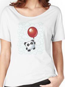 Kawaii Little Panda on the Balloon Women's Relaxed Fit T-Shirt