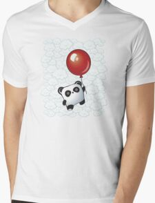 Kawaii Little Panda on the Balloon Mens V-Neck T-Shirt