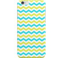 fresh looking, cool,  blue and yellow chevron zigzag graphic pattern. iPhone Case/Skin