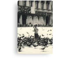 Little girl and pigeons in Venice Canvas Print