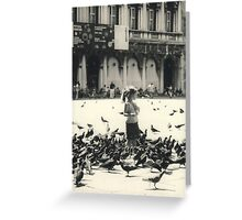 Little girl and pigeons in Venice Greeting Card