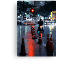Cones in the rain: Shibuya, Tokyo, Japan. Canvas Print