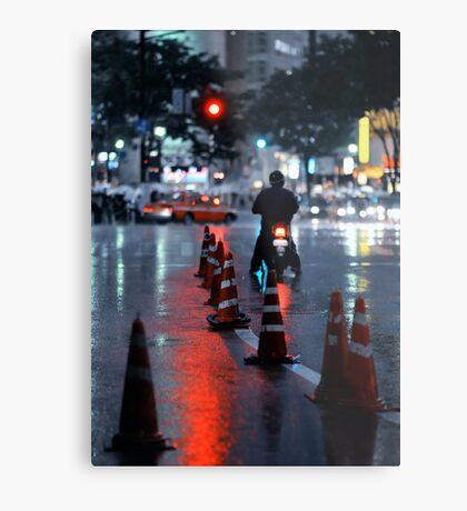 Cones in the rain: Shibuya, Tokyo, Japan. Metal Print